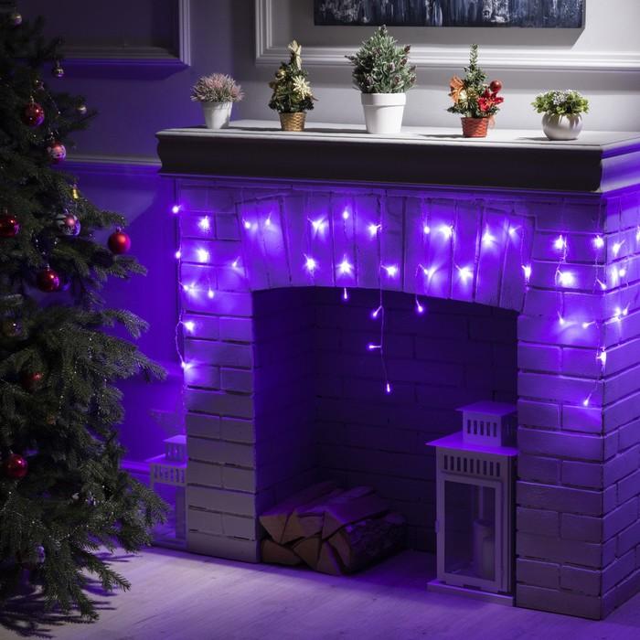 """Гирлянда """"Бахрома"""" 3 х 0.5 м , IP20, прозрачная нить, 80 LED, свечение фиолетовое, 8 режимов, 220 В"""
