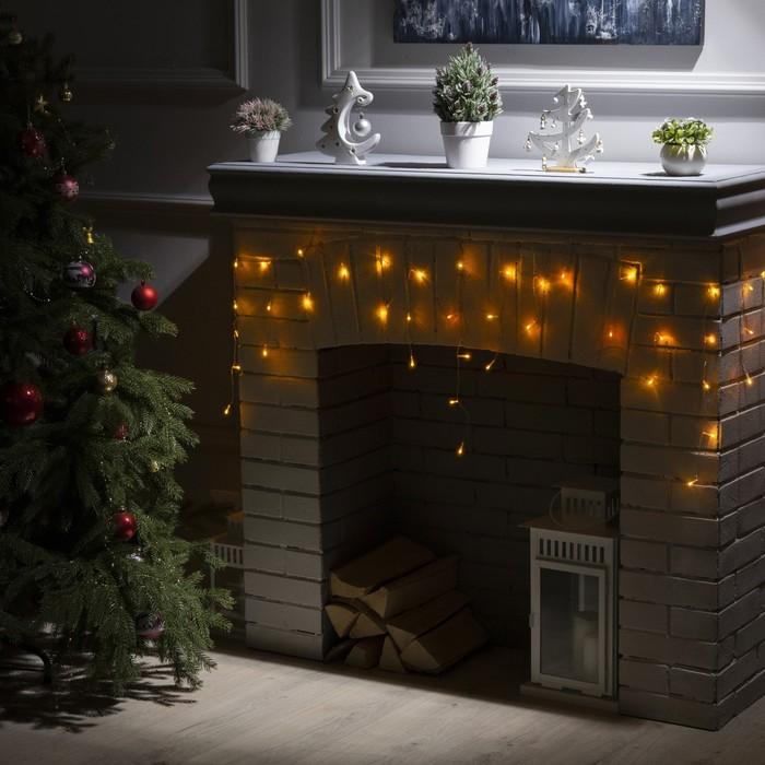 """Гирлянда """"Бахрома"""" 3 х 0.5 м , IP20, прозрачная нить, 80 LED, свечение жёлтое, 8 режимов, 220 В"""