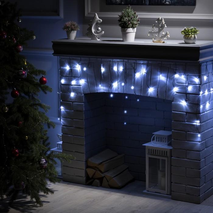 """Гирлянда """"Бахрома"""" 3 х 0.5 м , IP20, тёмная нить, 80 LED, свечение белое, 8 режимов, 220 В"""
