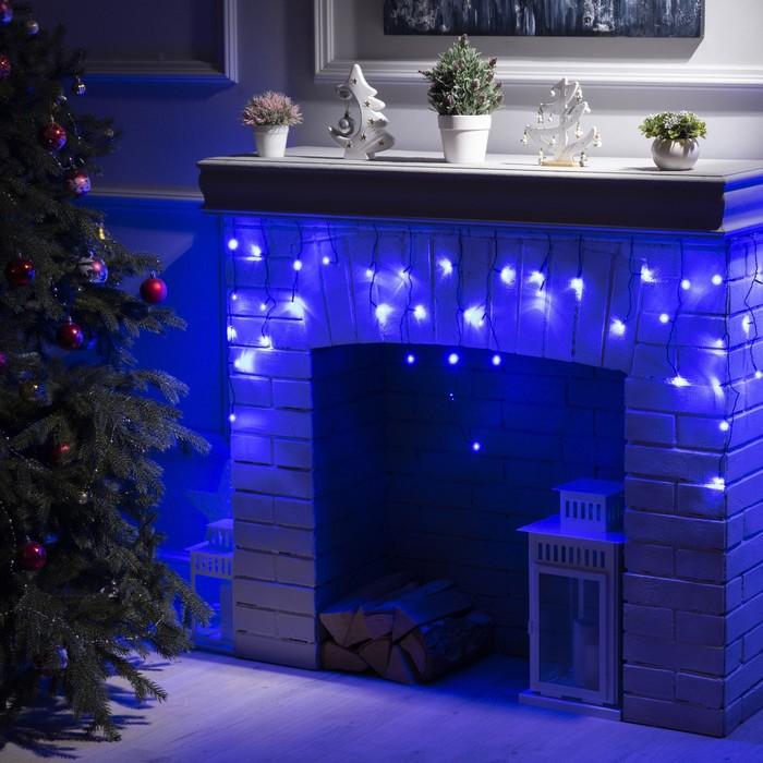 """Гирлянда """"Бахрома"""" 3 х 0.5 м , IP20, тёмная нить, 80 LED, свечение синее, 8 режимов, 220 В"""