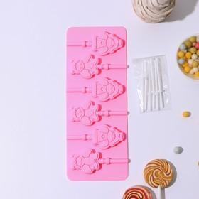 Форма для леденцов и мороженого 25×9,5 см «Ангел и демон» с палочками, 6 ячеек (5×3 см), цвет МИКС Ош
