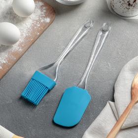 Набор для выпечки «Лёд», 2 предмета: лопатка 24 см, кисть 21 см, цвета МИКС Ош