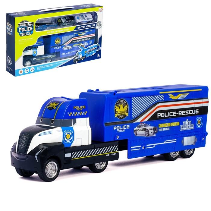 Грузовик инерционный «Полиция», 3 металлические машины в комплекте