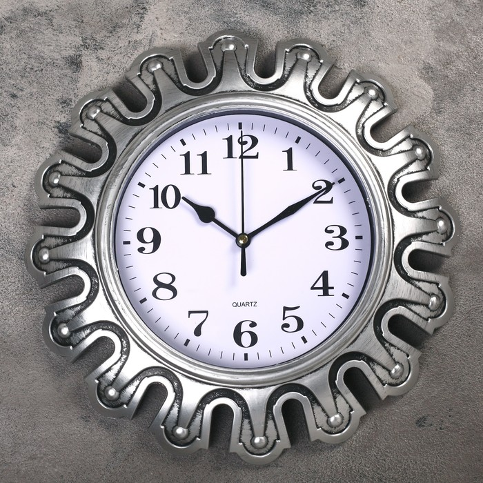 Часы настенные, серия Интерьер, Футуристика, серебряные, d30 см