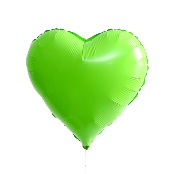 Шар полимерный 18 Сердце неон, цвет зеленый