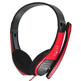 Наушники с микрофоном Oklick HS-M150 2м накладные оголовье (NO-003N) черный/красный
