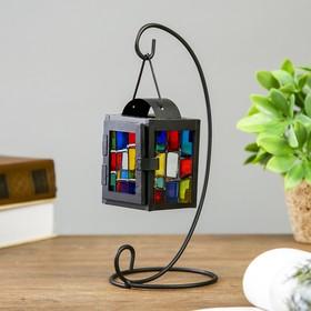 """Подсвечник металл на 1 свечу """"Фонарик с витражными стёклами"""" чёрный 22,5х11х10 см"""