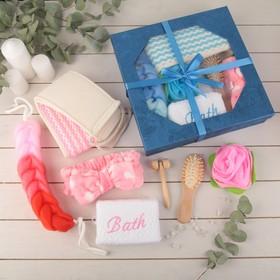 Набор банный, 7 предметов: 4 мочалки, повязка на голову, расчёска, массажёр Ош