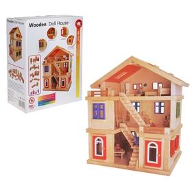 Кукольный дом трёхэтажный с мебелью и 4 куклами Ош