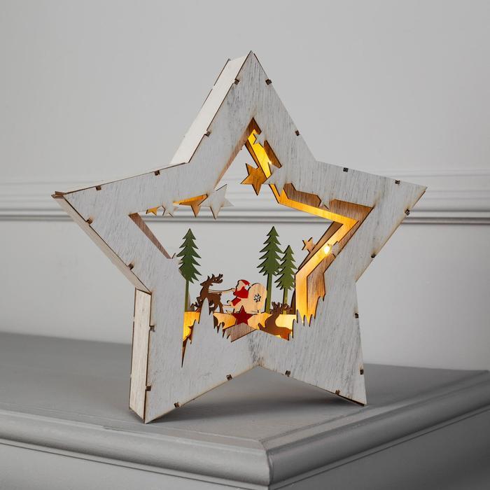 """Фигура дерев. """"Звезда Сани с Оленями"""", 28х28х5 см, AA*2 (не в компл.), 10 LED"""