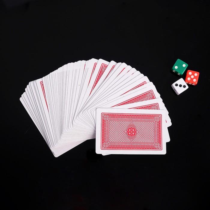 Покер, набор для игры 3 кубика 1.5х1.5см, колода карт 54шт, 5.5х10.5 см