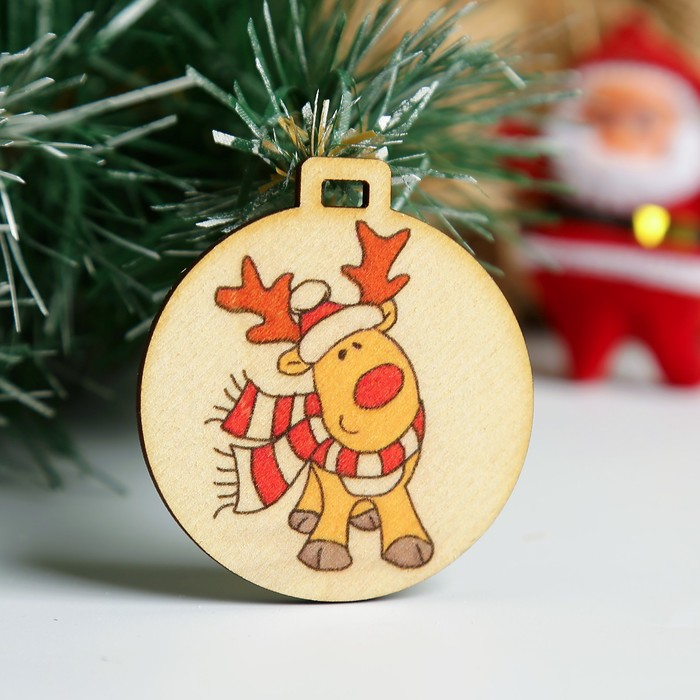 "Бирка ""Олень - Санта Клаус"", D=5см"