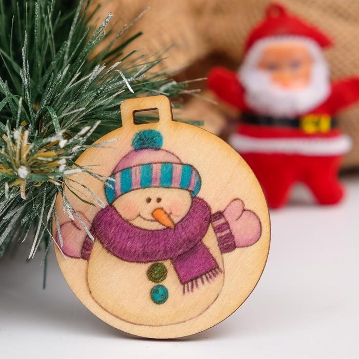 """Бирка """"Новогоднйи снеговик"""", D=5см"""