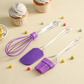 Набор для выпечки «Лёд. Макси», 3 предмета: лопатка 24 см, кисть 22 см, венчик 26 см, цвет МИКС Ош