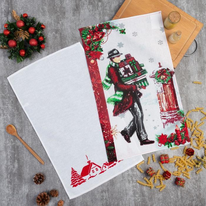 Комплект полотенец для кухни Spany «Джентльмен с подарками», 35x61 см - 2 шт, МИКС