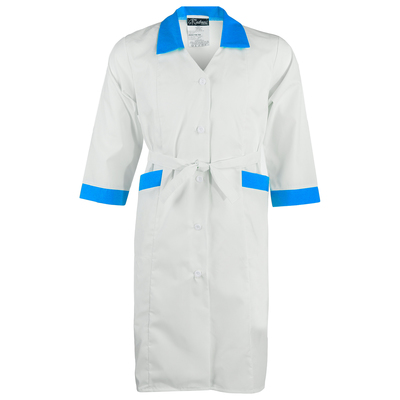 Халат медицинский женский «Ева» тиси, размер 54, рост 170-176, цвет белый/синий
