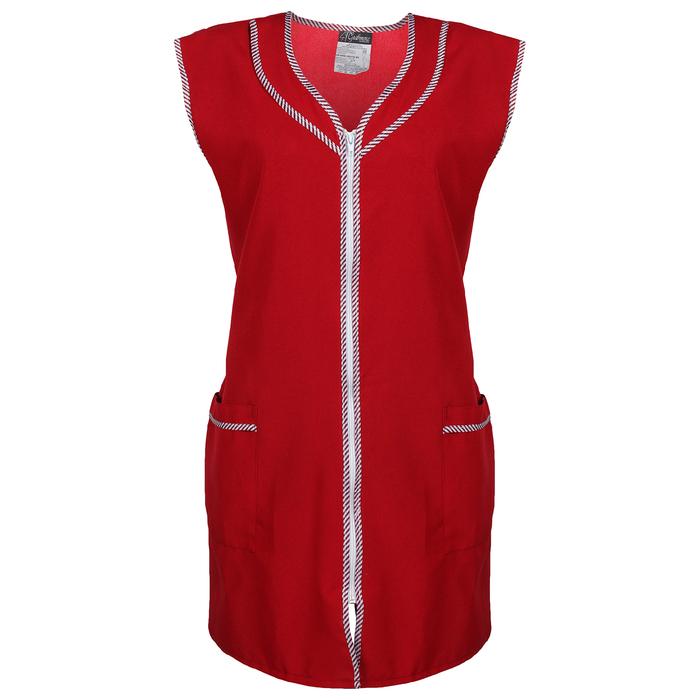 Халат габардин на молнии, без рукава, размер 52-54, рост 170-176, цвет бордовый