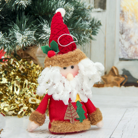 """Мягкая игрушка """"Дед Мороз с ёлочками"""" 8,5*14 см, красный"""