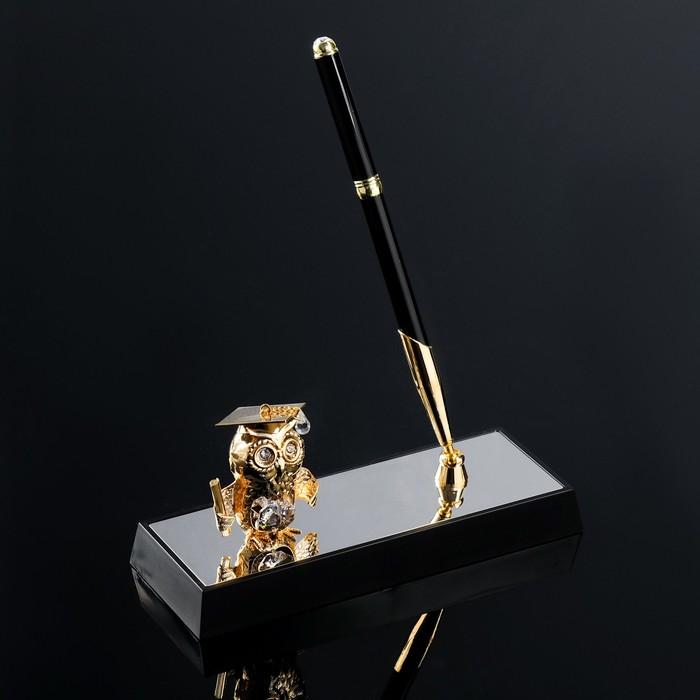 Ручка на подставке «Сова», 16×6×19 см, с кристаллами Сваровски