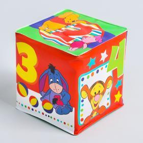 Мягкие кубики «Цифры», со свистулькой, Медвежонок Винни и его друзья, р-р. 7*7см, для купания