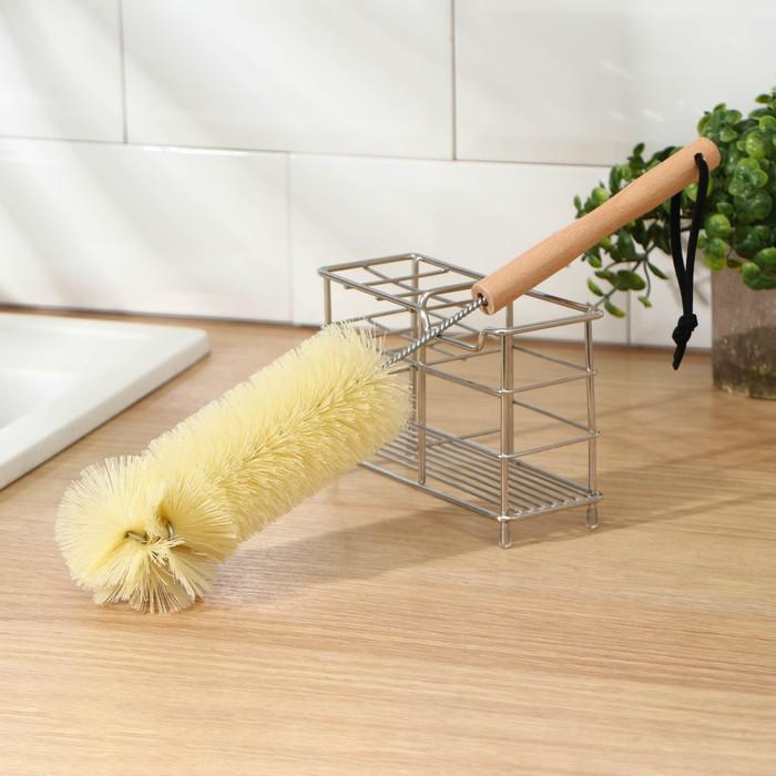 Ёршик для посуды с деревянной ручкой, 36×7 см