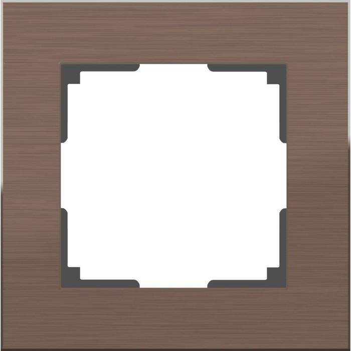 Рамка на 1 пост WL11-Frame-01, цвет коричневый алюминий
