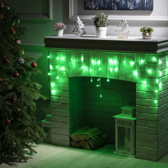 """Гирлянда """"Бахрома"""" 1.8 х 0.5 м , IP20, прозрачная нить, 48 LED, свечение зелёное, 8 режимов, 220 В"""