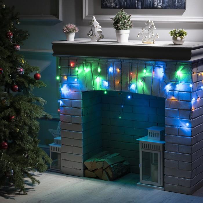 """Гирлянда """"Бахрома"""" 1.8 х 0.5 м , IP20, тёмная нить, 48 LED, свечение мульти, 8 режимов, 220 В"""