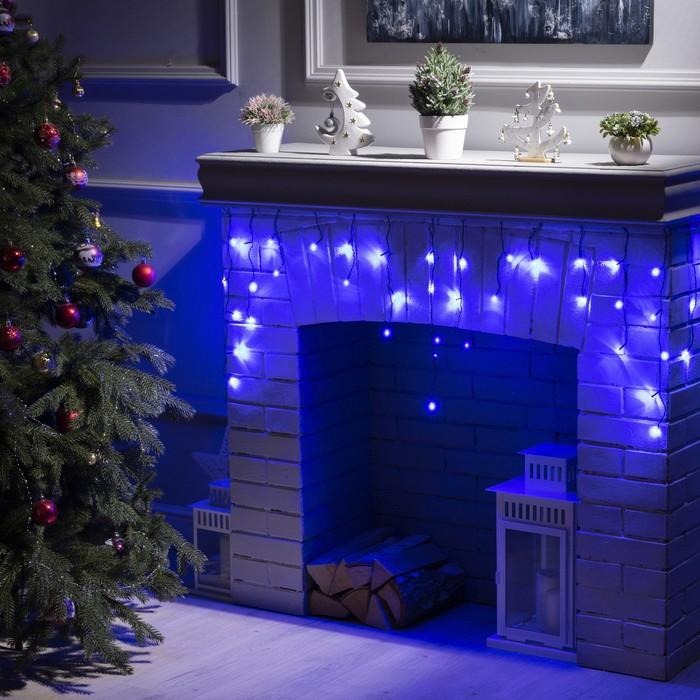 """Гирлянда """"Бахрома"""" 1.8 х 0.5 м , IP20, тёмная нить, 48 LED, свечение синее, 8 режимов, 220 В"""