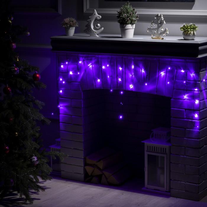 """Гирлянда """"Бахрома"""" 1.8 х 0.5 м , IP20, тёмная нить, 48 LED, свечение фиолетовое, 8 режимов, 220 В"""