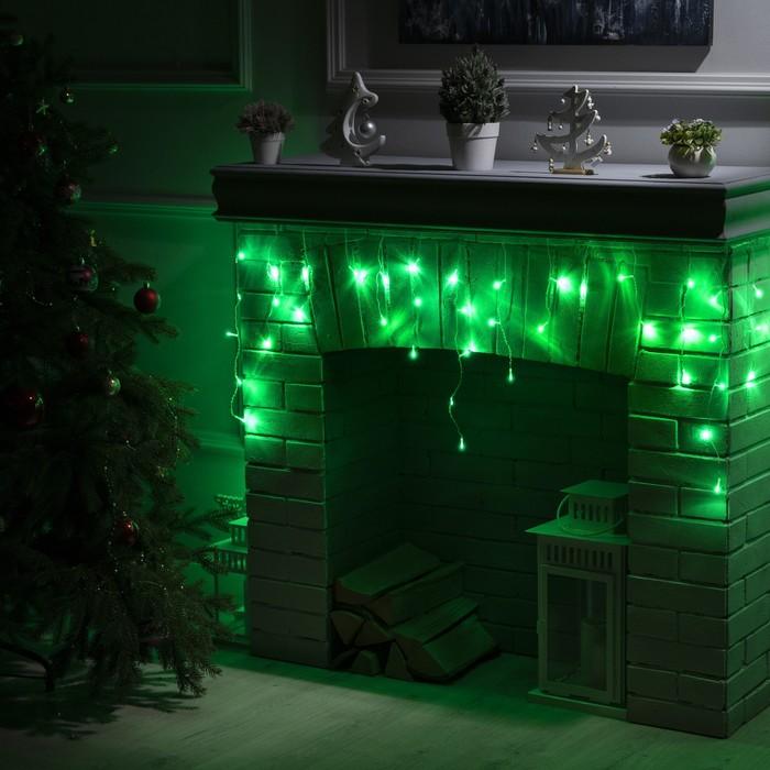 """Гирлянда """"Бахрома"""" 3 х 0.5 м , IP20, прозрачная нить, 80 LED, свечение зелёное, 8 режимов, 220 В"""