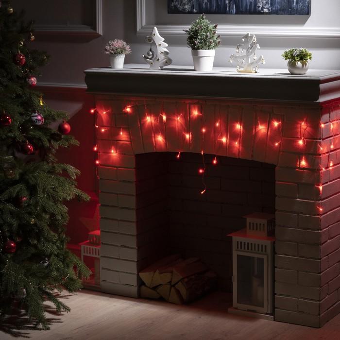 """Гирлянда """"Бахрома"""" 3 х 0.5 м , IP20, прозрачная нить, 80 LED, свечение красное, 8 режимов, 220 В"""