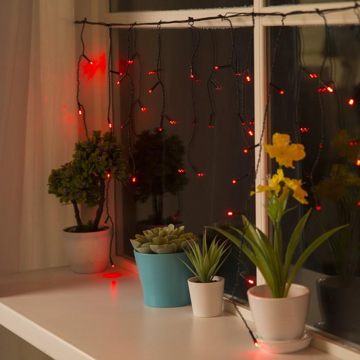 """Гирлянда """"Бахрома"""" 3 х 0.5 м , IP20, тёмная нить, 80 LED, свечение красное, 8 режимов, 220 В"""