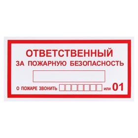 """Табличка знак """"Ответственный за пожарную безопасность"""", 200 х 100 мм"""