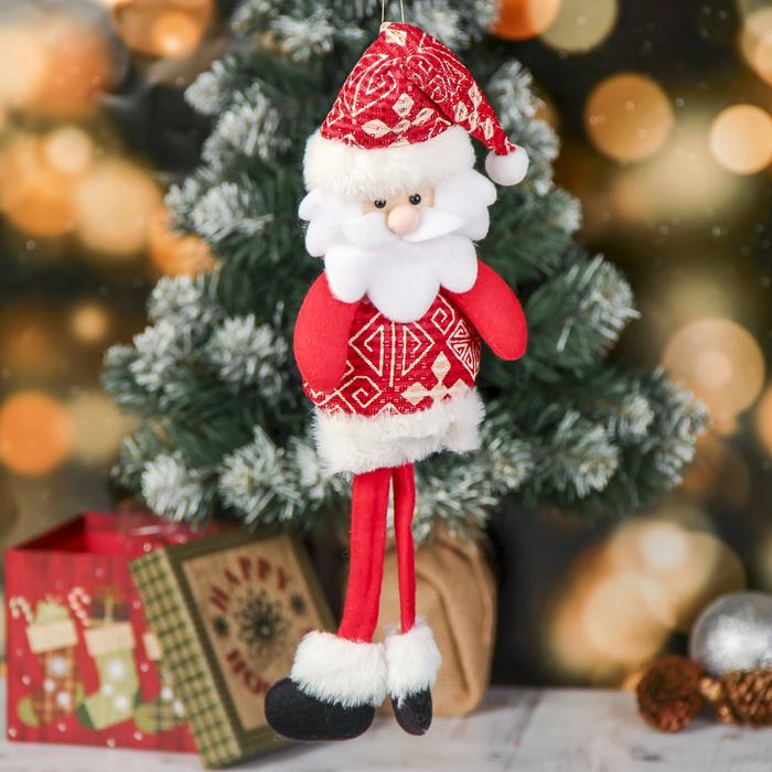 Мягкая игрушка Дед мороз с узорами - длинные ножки 8,535 см красный