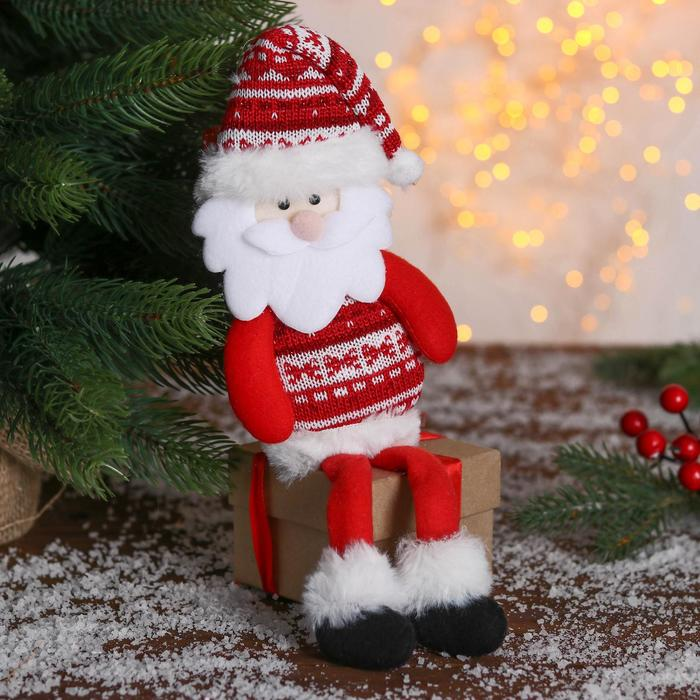 Мягкая игрушка Дед мороз в свитере 829 см красный