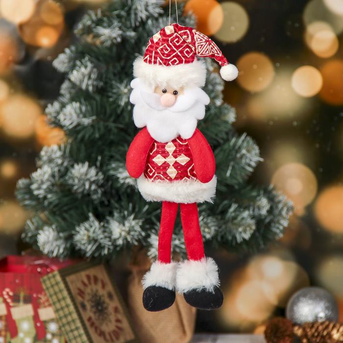 Мягкая игрушка Дед мороз с узорами 830 см красный