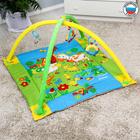Коврик развивающий с бортиками «Лужайка с машинкой», дуги, 4 игрушки