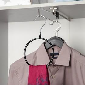 Вешалка для галстуков и шарфов Доляна, 13,5×23×0,7 см, антискользящее покрытие, цвет чёрный