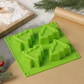 Форма для выпечки Доляна «Новый год. Ёлочки», 18×18 см, 4 ячейки, цвет МИКС