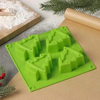 Форма для выпечки Доляна «Новый год. Ёлочки», 18×18 см, 4 ячейки, цвет МИКС - Фото 1