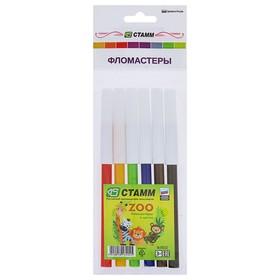 Фломастеры 6 цветов ZOO, вентилируемый колпачок, длинна линии письма 200м, толщина 1мм, европодвес Ош