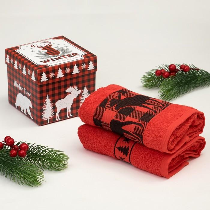 "Набор махровых полотенец ""Winter"" 30х70 см - 2 шт, 100% хлопок, 370 гр/м2"