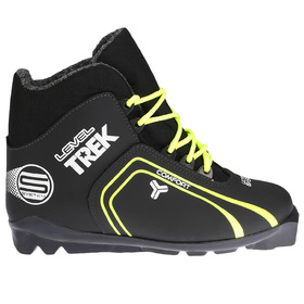 Ботинки лыжные TREK Level 1 SNS ИК, цвет чёрный, лого лайм неон, размер 36