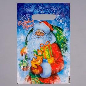 Пакет полиэтиленовый 'Новогодняя метель' с вырубной ручкой, 20 х 30 см , 30 мкм Ош