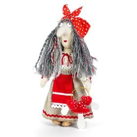 """Набор для изготовления игрушки из льна и хлопка с волосами из пряжи """"Баба Яга"""", 21 см"""