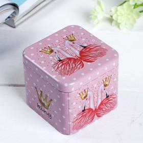Шкатулка металл 'Фламинго с цветами' 6,5х7,5х7,5 см Ош