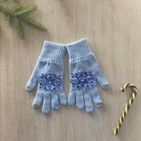Перчатки женские для сенсорных экранов, цвет голубой, размер 18