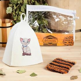 Набор для бани детский 'Котёнок' в косметичке: шапка с принтом, мочалка Ош