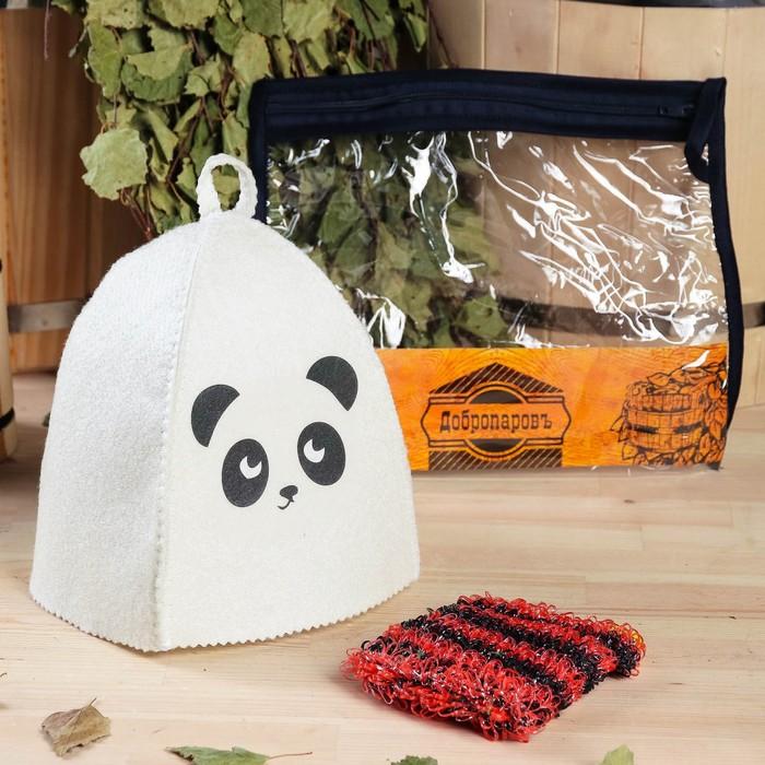 Набор для бани детский Панда в косметичке шапка с принтом, мочалка